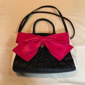EUC Betsey Johnson Pink Bow Black Purse Satchel